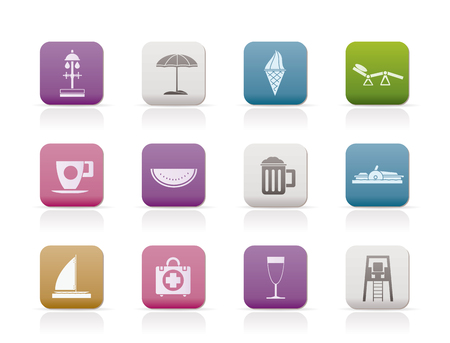 watermelon boat: beach and holiday icons - icon set Illustration