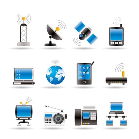 cable de red: iconos de la comunicaci�n y la tecnolog�a - conjunto de iconos