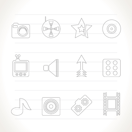 Entertainment  and media Icons - Icon Set Vector
