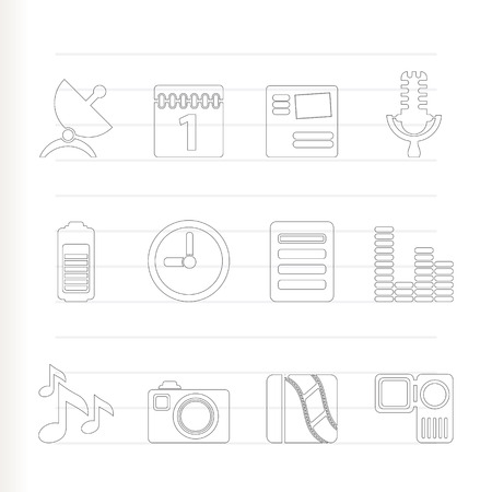 Mobile phone performance icons - icon set Vector