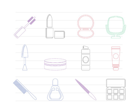 cuticle: cosmetic and make up icons - vector icon set  Illustration