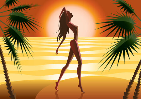tropics: beautiful woman silhouette on a beach - illustration