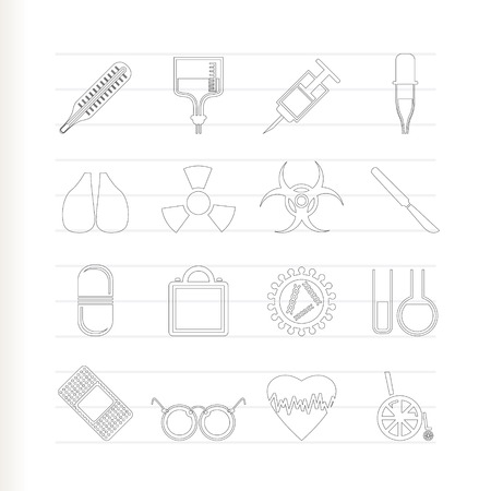 collection of  medical themed icons and warning Stock Vector - 7337875