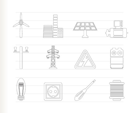 wind power plant: Electricity and power icons Illustration