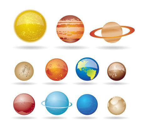 Planetas y el sol de nuestro sistema solar.  Ilustración de vector
