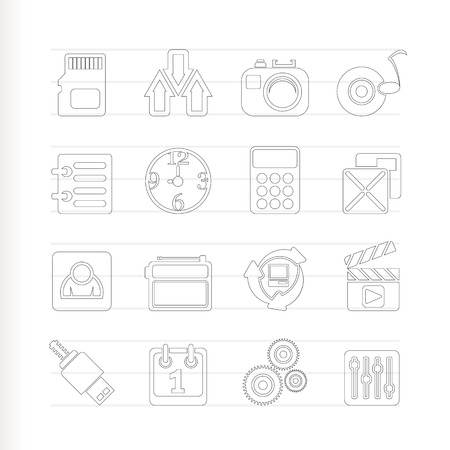 polyphony: phone performance, internet and office icons Illustration