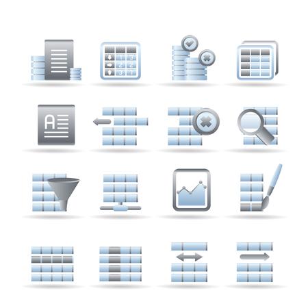 Iconos de la base de datos y el formato de tabla - Icon Set  Ilustración de vector
