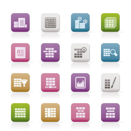 Database and Table Formatting Icons - Icon Set Vector