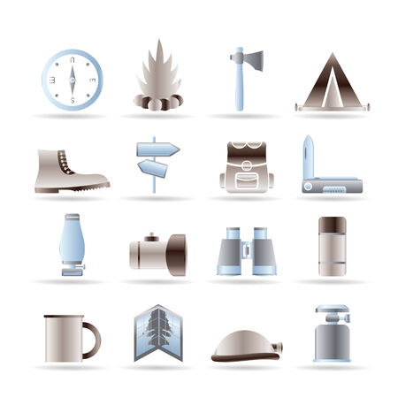 gas fireplace: Tourism and Holiday icons - Icon Set Illustration