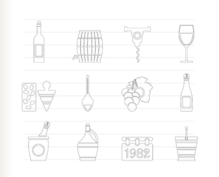Wine and drink Icons - Icon Set Vector