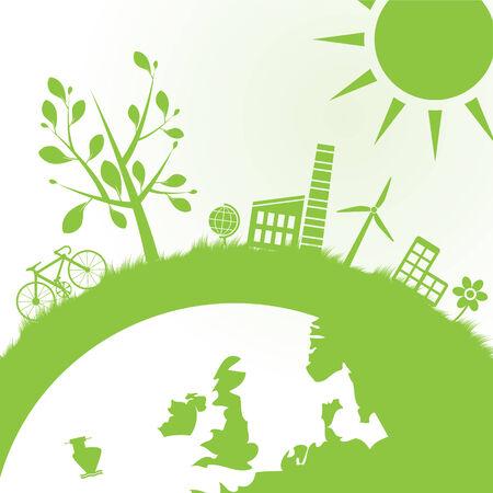 発電機: 抽象的な生態とパワーの背景イラスト