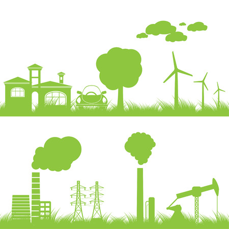 energy work: abstract ecology, industry and nature background - illustration Illustration