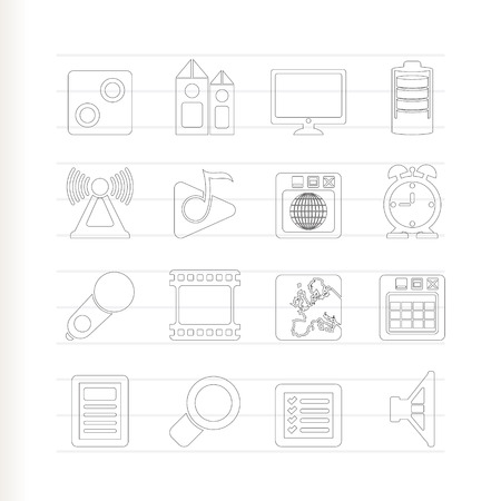 polyphony: Mobile phone  performance, internet and office icons - icon set