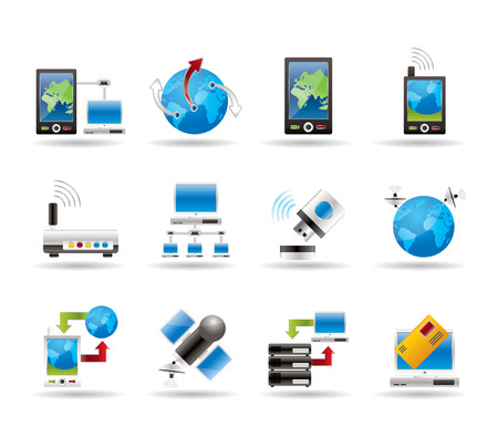 computer network: communication, computer and mobile phone icons