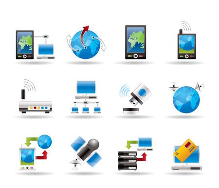 telecomunicaci�n: iconos de la comunicaci�n, el equipo y el tel�fono m�vil  Vectores