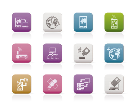 communication, computer and mobile phone icons  Stock Vector - 7529660