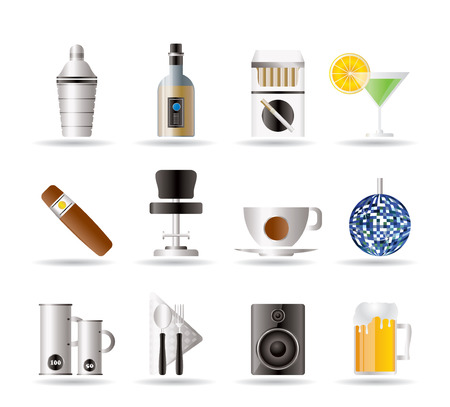 Night club, bar and drink icons   Vector