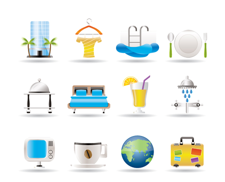 bath room: Hotel, motel and holidays icons - vector icon set