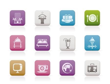 Hotel, motel and holidays icons - vector icon set Stock Vector - 7593944