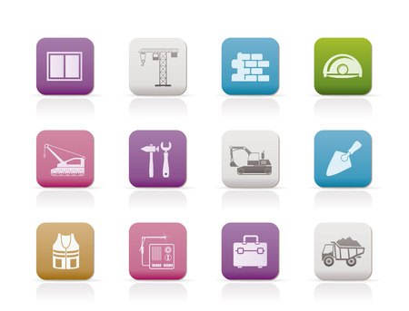 bagger: building and construction icons - vector icon set Illustration