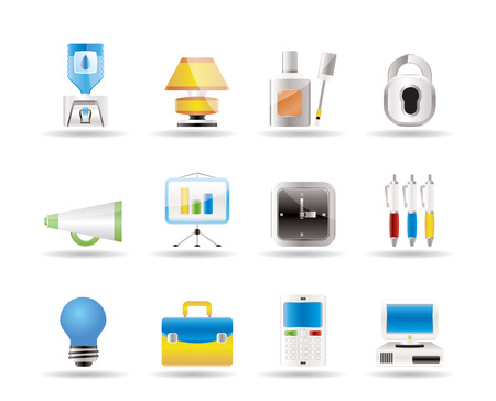 corrector: Business and office icons  Illustration