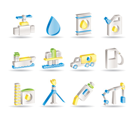 oil and petrol industry objects icons Stock Vector - 7629704
