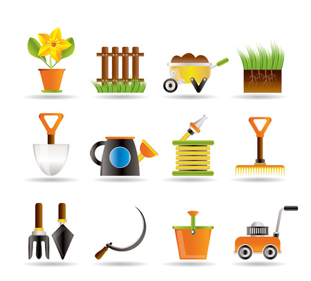 gardening equipment: Garden and gardening tools icons