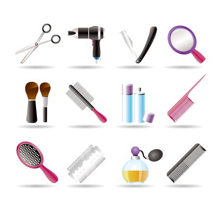 peigne et ciseaux: cosm�tiques, composent et les ic�nes de coiffure