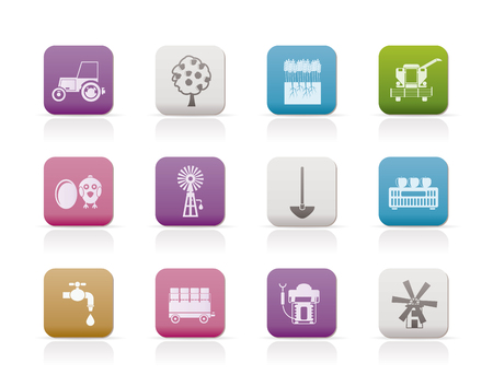 agrario: Agricultura industria y agricultura de iconos de herramientas  Vectores
