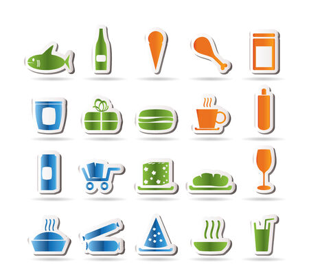 Shop and Foods Icons Vector