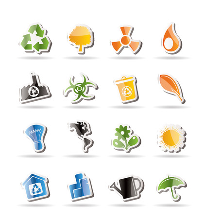 energy conservation: Simple Ecology and Recycling icons Illustration