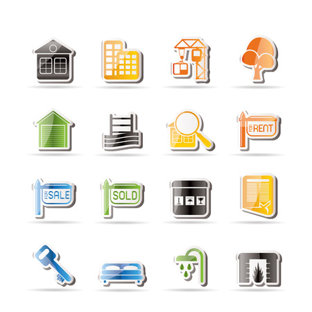 Simple Real Estate Icons - Vector Icon Set Stock Vector - 7806107