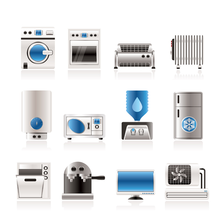 heater: Home electronics and equipment icons - vector icon set Illustration