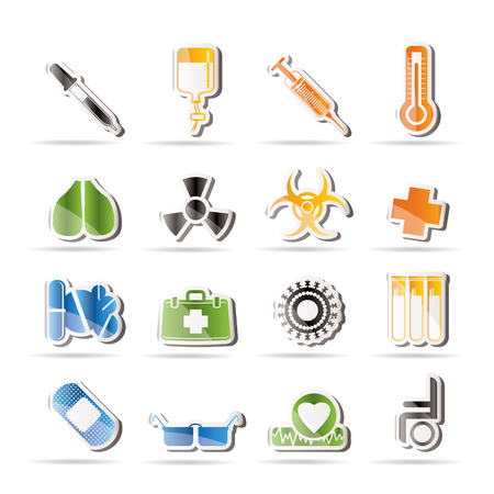 clinical thermometer: collection of  medical themed icons and warning-signs - Vector Icon Set