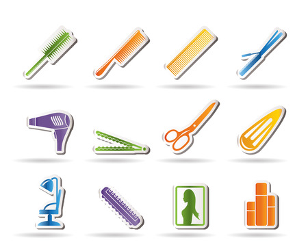 hairdos: Icone di parrucchieri, trucco e coiffure - vector Icon Set