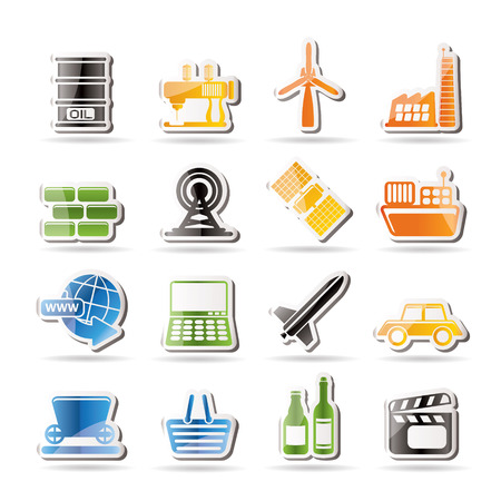 space industry: Simple Business and industry icons - Vector Icon Set