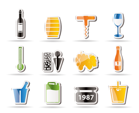 stopper: Wine and drink Icons - Vector Icon Set