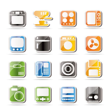 Simple Home and Office, Equipment Icons  Vector