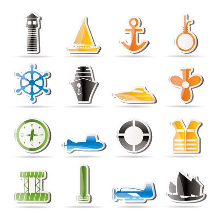 unterseeboot: Einfache Marine, Segeln und Meer-Ikonen  Illustration