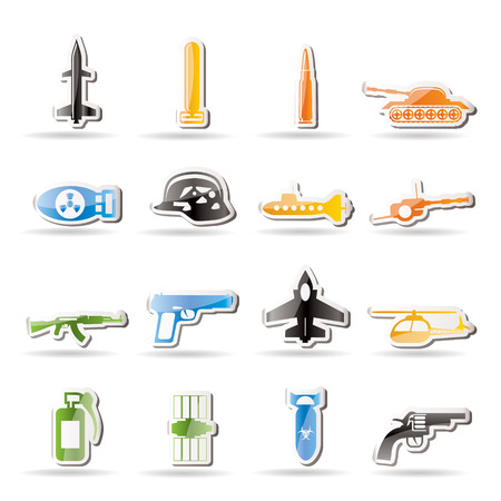 biological warfare: Simple weapon, arms and war icons   Illustration