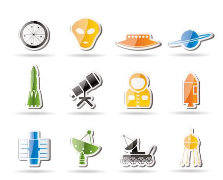 astronautics: Simple Astronautics and Space Icons  Illustration