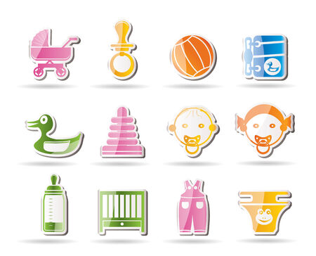 Simple Child, Baby and Baby Online Shop Icons Set Vector