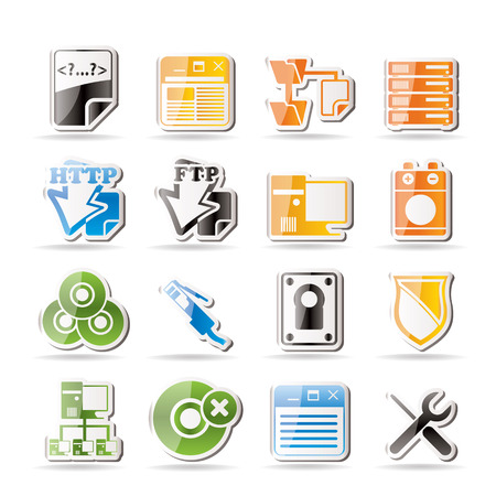 Simple Server Side Computer icons Stock Vector - 7816961