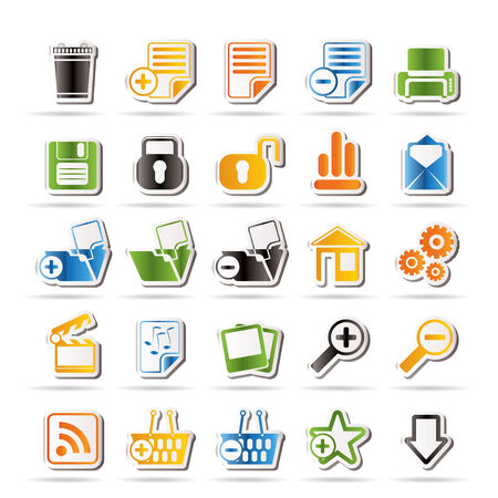 folder icons: 25 Simple Realistic Detailed Internet Icons   Illustration