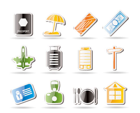 Simple Travel, Holiday and Trip Icons Stock Vector - 7816814