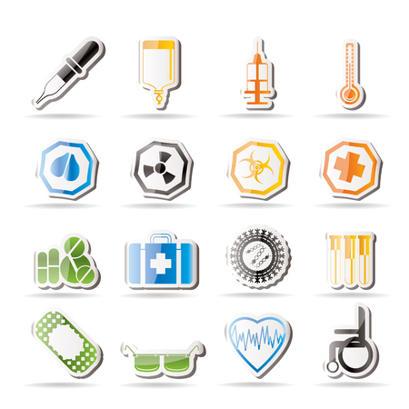 Simple medical themed icons and warning-signs  Stock Vector - 7816952