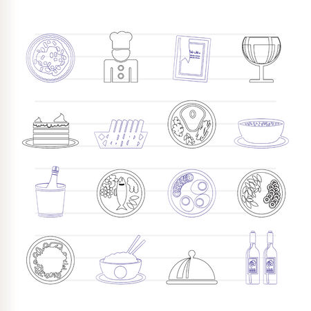 Restaurant, food and drink icons  Vector
