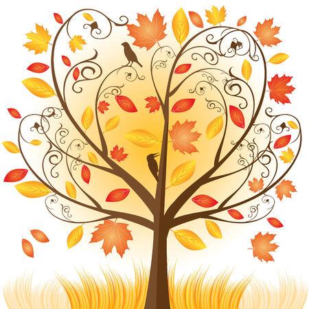 eberesche: Sch�ne Herbst Baum mit fallen Leafs  Illustration