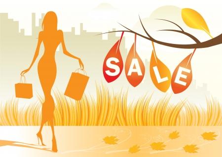 shoe sale: Fondo de oto�o con una mujer compras con bolsas de compra  Vectores