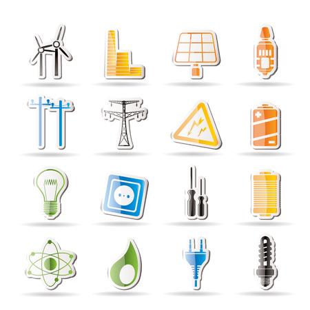 zasilania: Proste ikony elektrycznoÅ›ci, energii i energii  Ilustracja